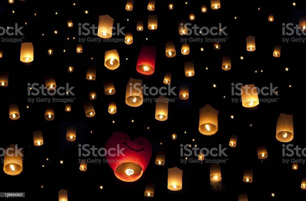 Flying lanterns festival in Chiang Mai stock photo