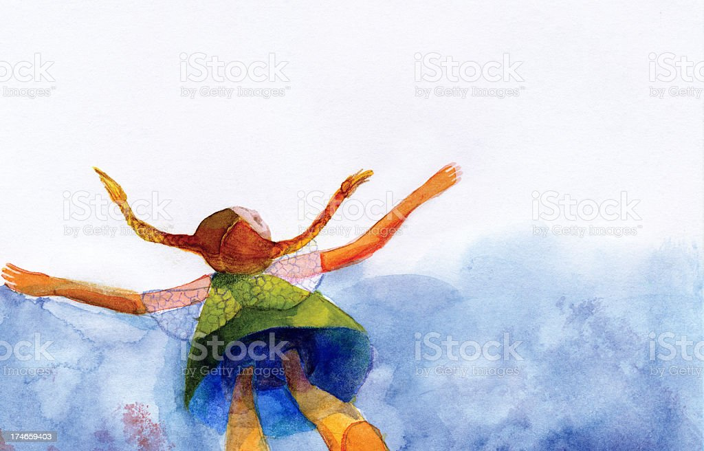 Flying little girl royalty-free stock photo