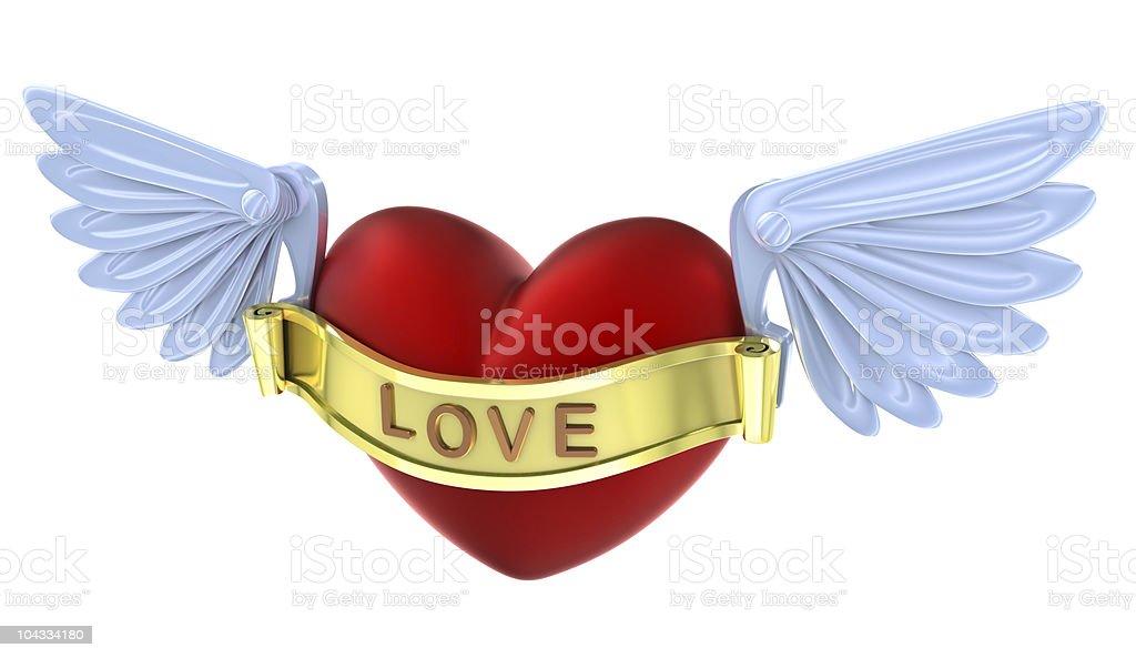 Flying love heart symbol stock photo