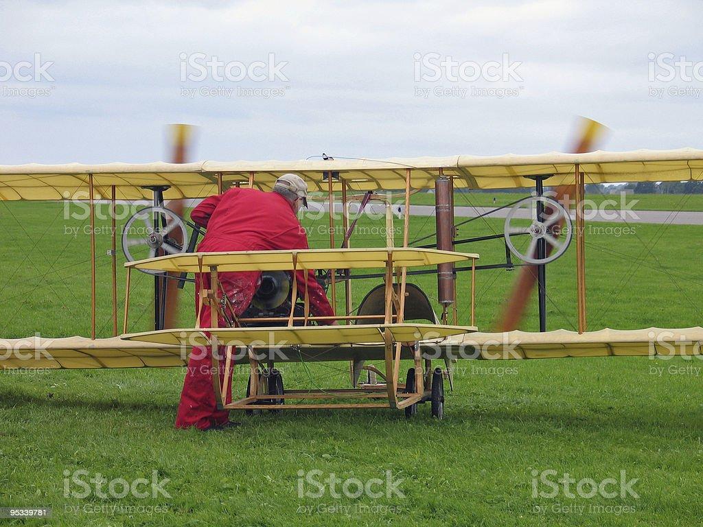 Flying machine - old plane royalty-free stock photo