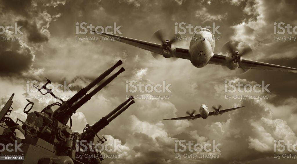 Flying Military Airplanes and Machine Guns stock photo
