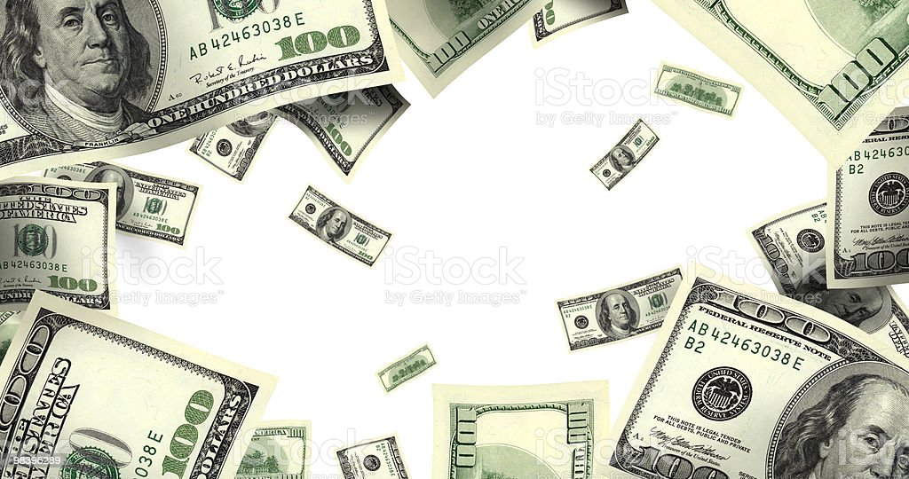 flying money over white stock photo