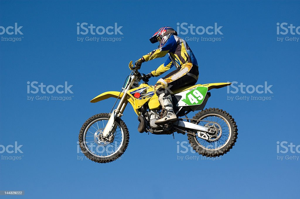 Flying motocross stock photo