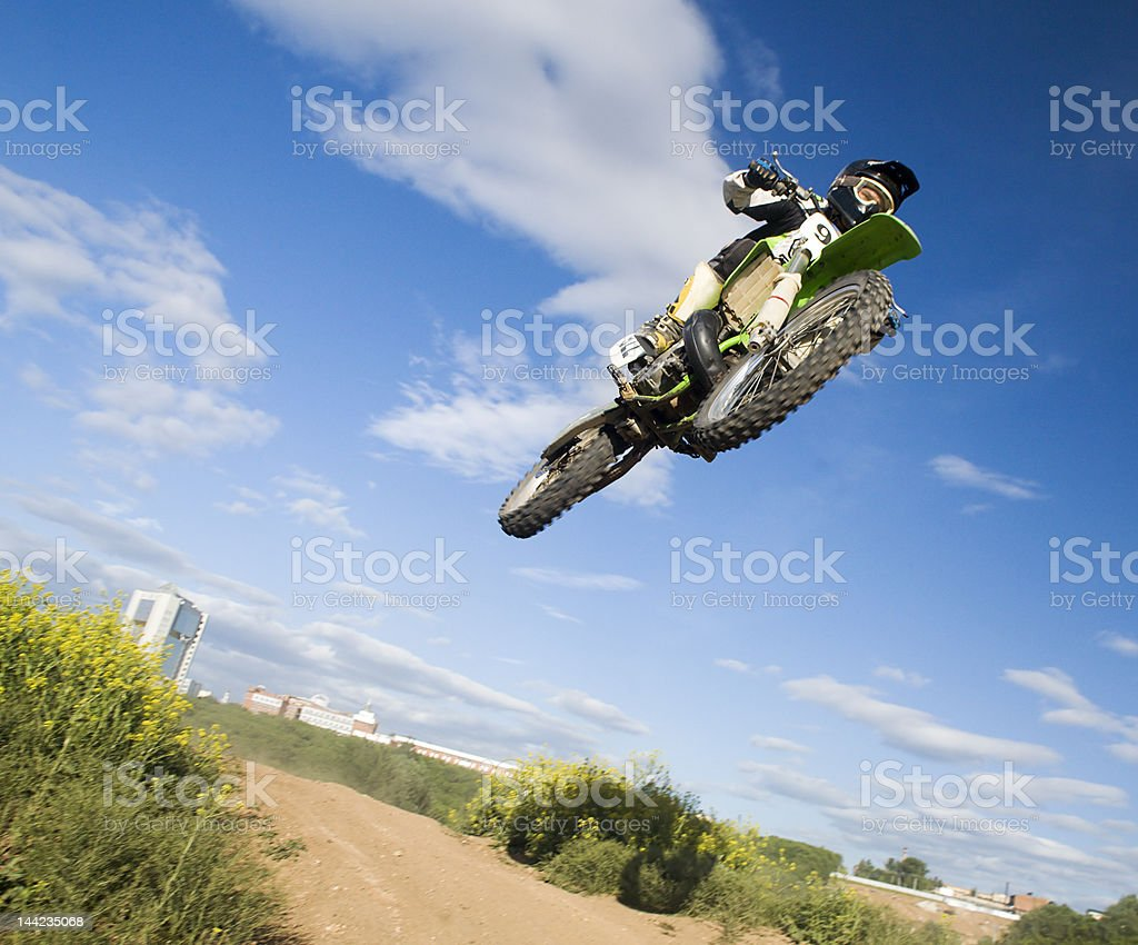 flying motocross rider royalty-free stock photo