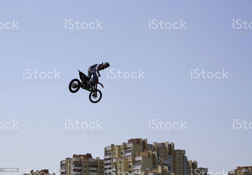 Flying motofreestyler royalty-free stock photo