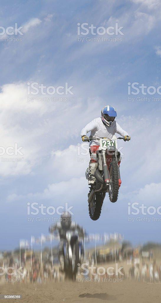 Flying motorbikes royalty-free stock photo