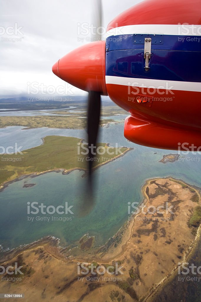 Flying over a remote part of the Falkland Islands stock photo