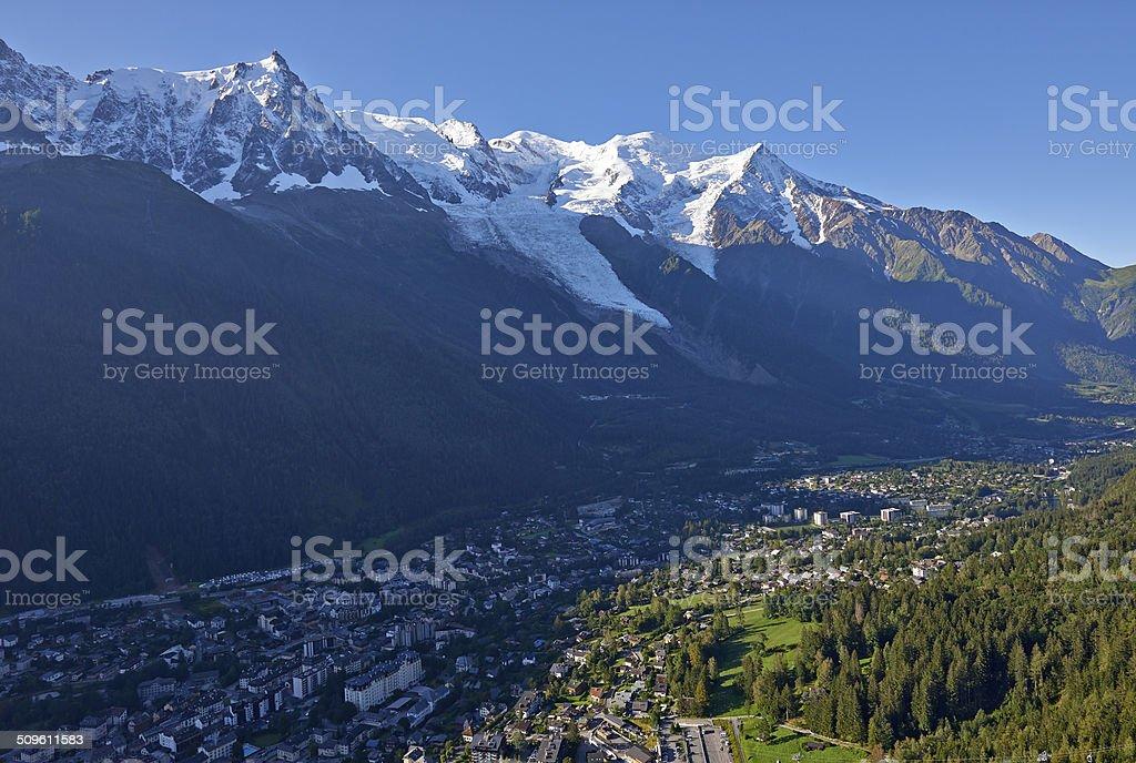 Flying Over Chamonix Valley stock photo