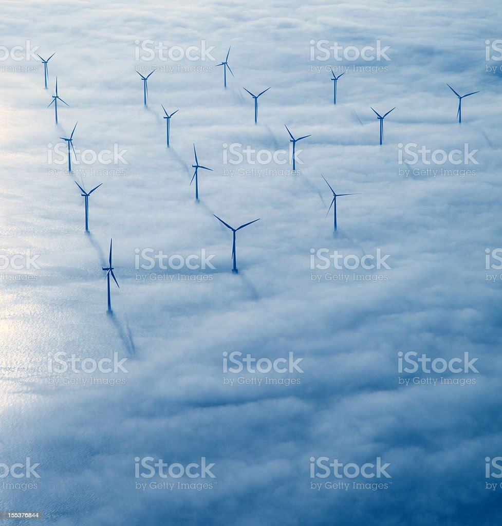 Flying over Copenhagen. stock photo