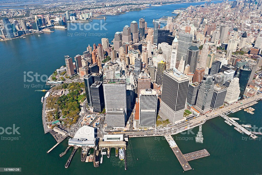 flying over downtown manhattan royalty-free stock photo