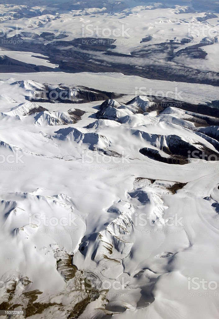 Flying over Ellesmere Island, August 2010 stock photo