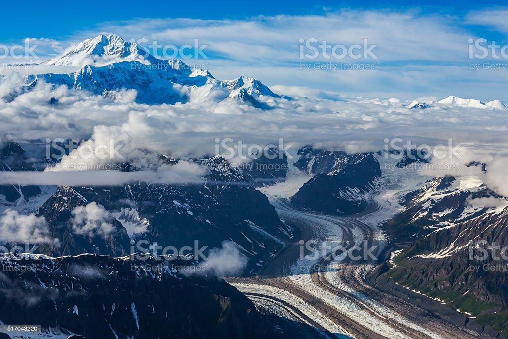 Flying over Glacier stock photo