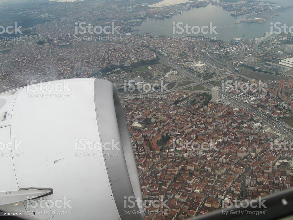Flying over Istanbul stock photo