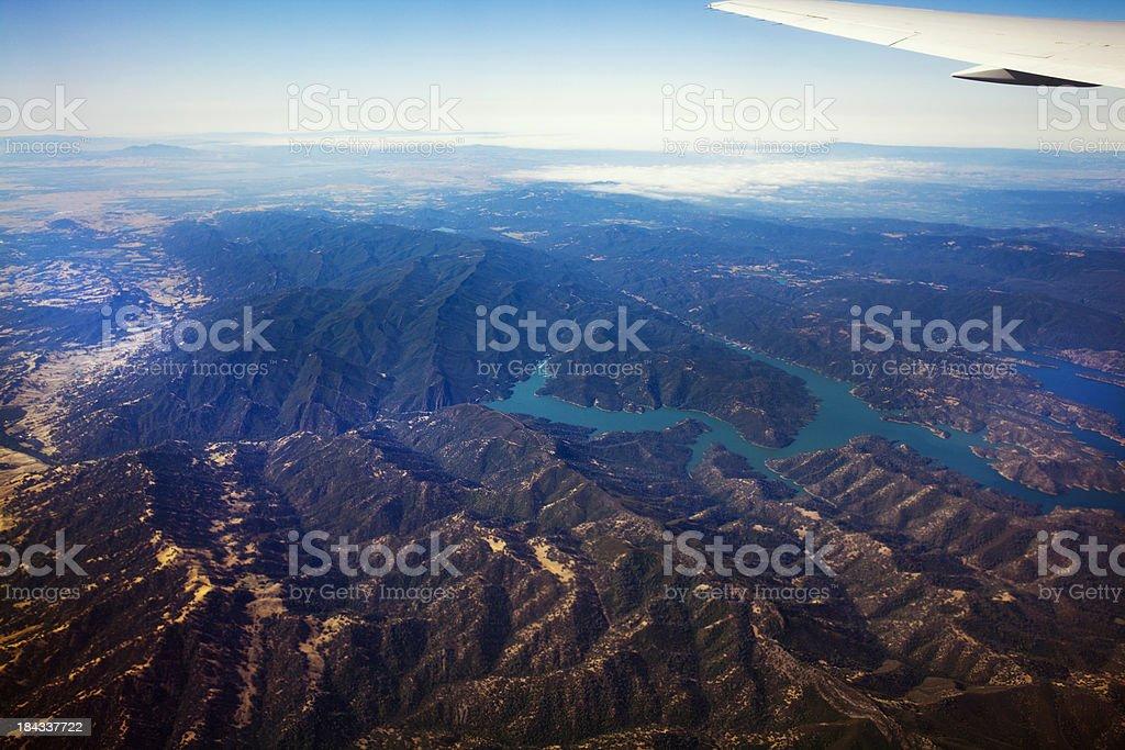 Flying Over Lake Berryessa stock photo