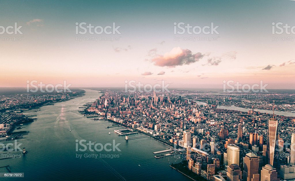 Flying Over Manhattan, NYC stock photo