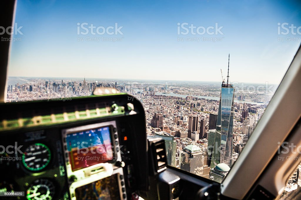 Flying over New York Lower Manhattan stock photo