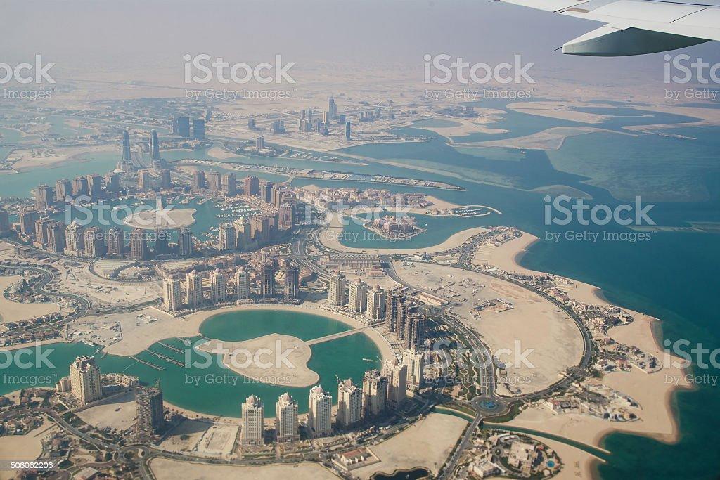Flying over Qatar, Doha - Stock image stock photo