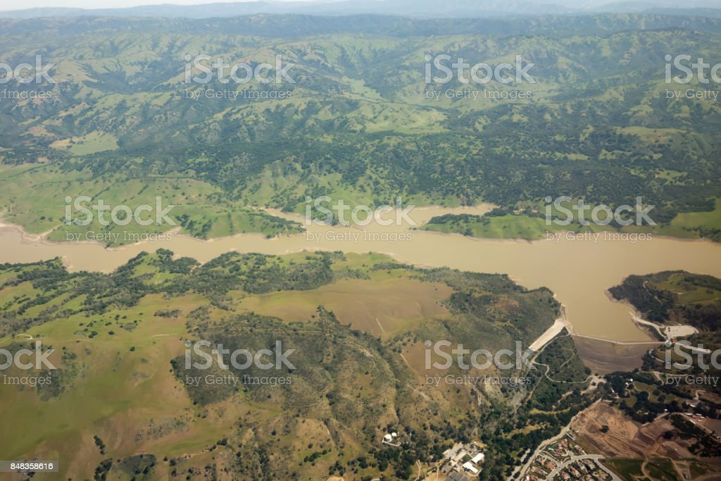 flying over sierra national forest hills and valleys stock photo