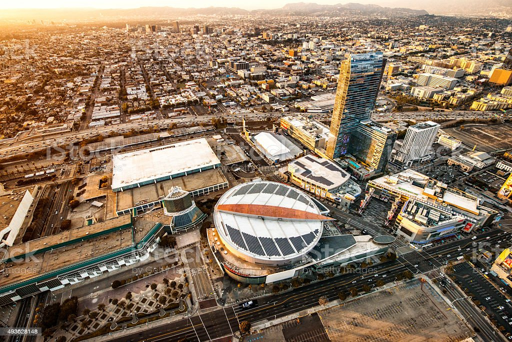 Flying over Staples Center in Los Angeles stock photo