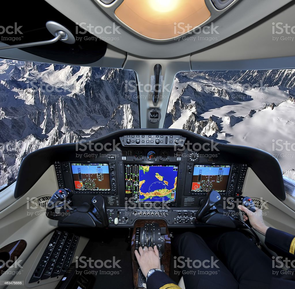 Flying over the Alp stock photo