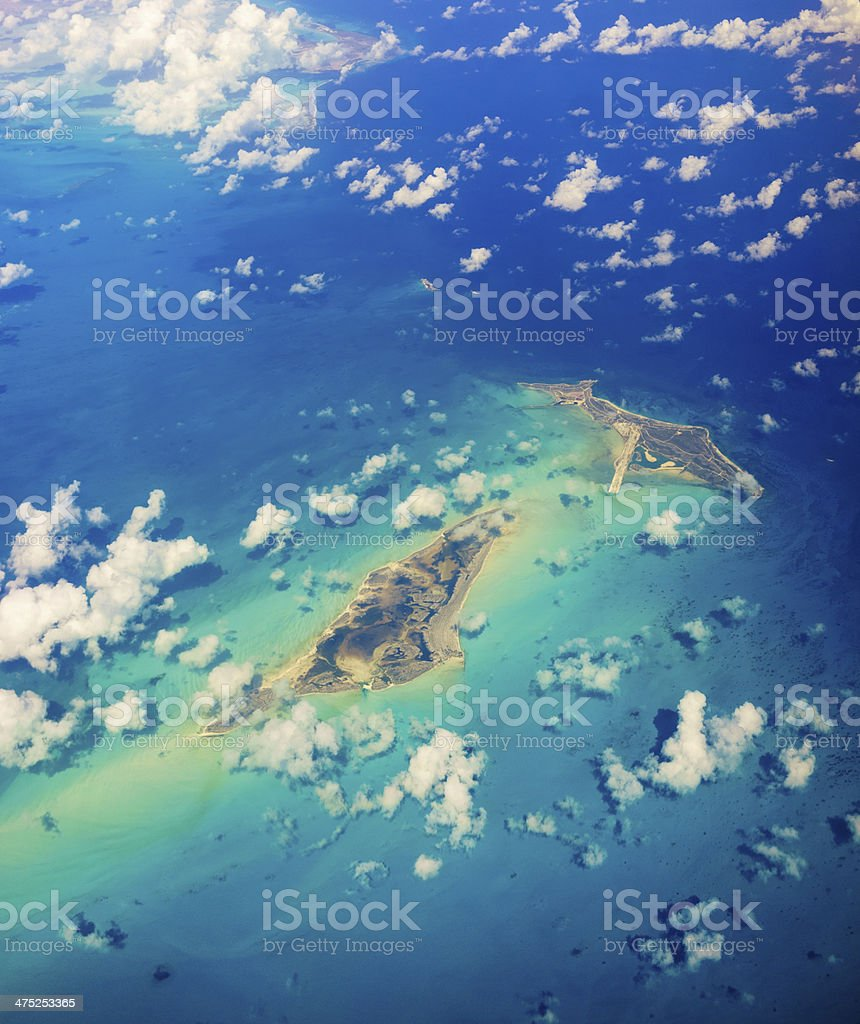 Flying over the Caribbean sea stock photo