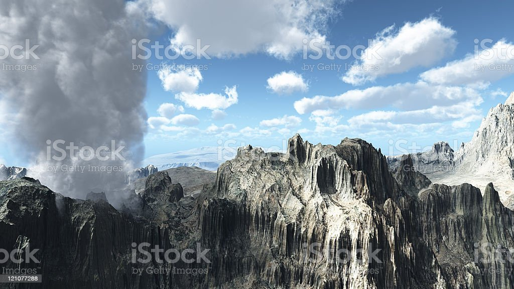 Flying over volcanic crater royalty-free stock photo