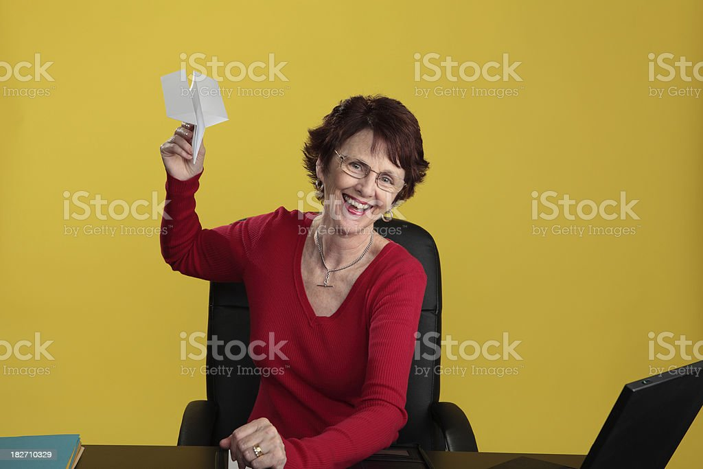 Flying paper plane stock photo