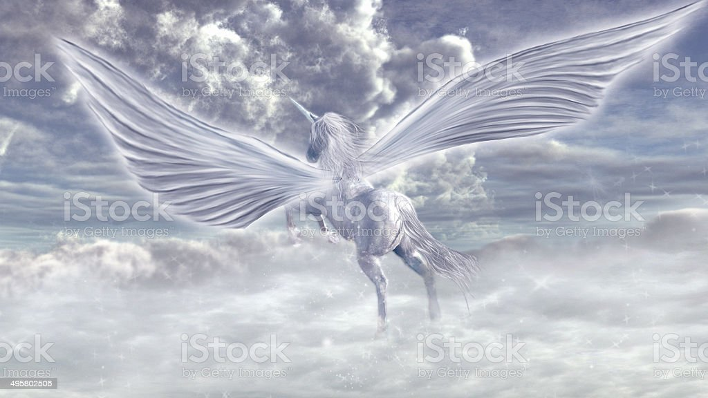 Flying pegasus stock photo