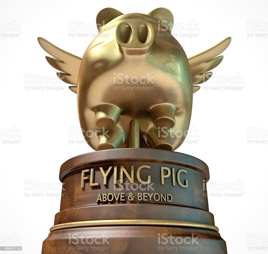 Flying Pig Trophy Award stock photo