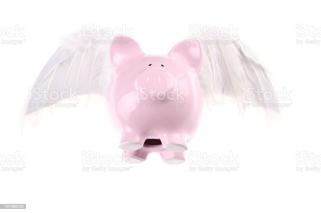 Flying piggy bank royalty-free stock photo