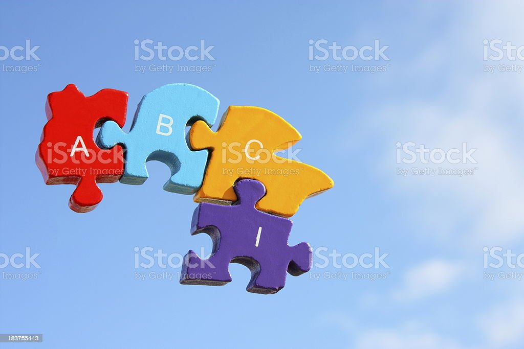 Flying puzzle royalty-free stock photo