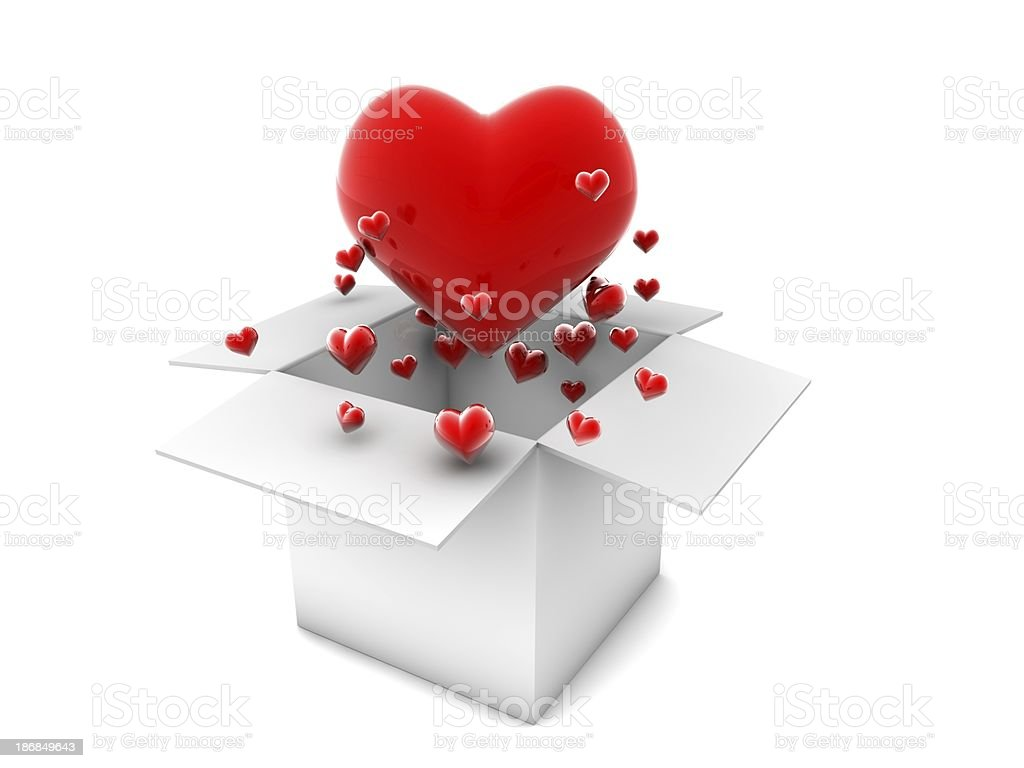 Flying Red Hearts royalty-free stock photo