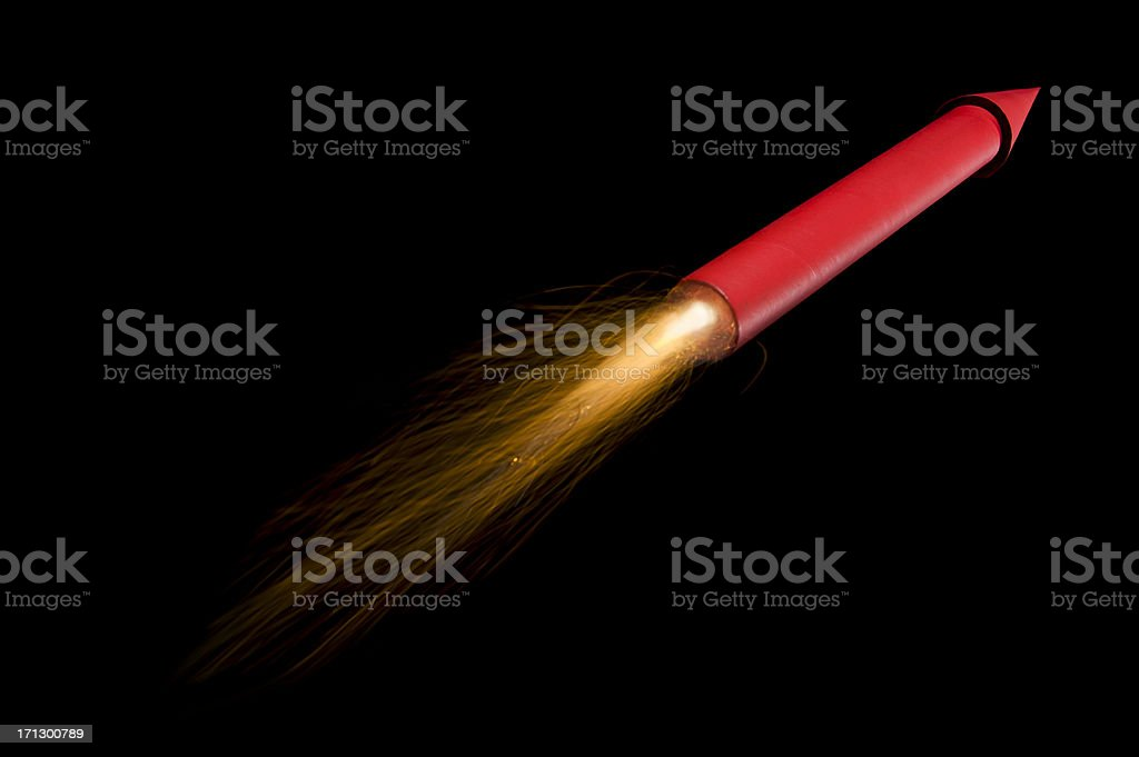 Flying Red Rocket/Fireworks stock photo