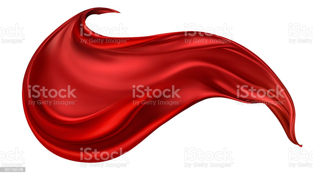 flying red silk fabric stock photo