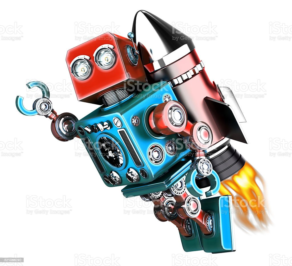Flying retro robot. Isolated. Contains clipping path stock photo