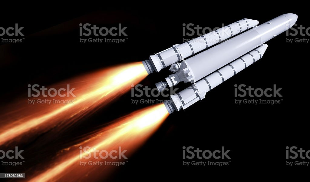 flying rocket stock photo