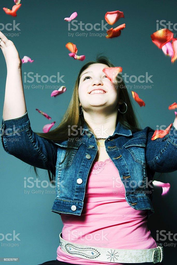 flying rose petals royalty-free stock photo