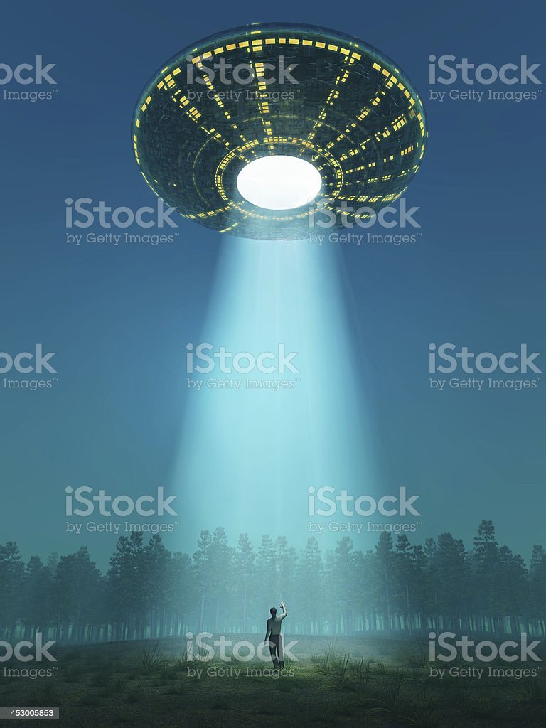 flying saucer arrived stock photo