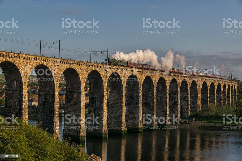 Flying Scotsman Crossing Royal Border Bridge Berwick 14th May 2016 stock photo