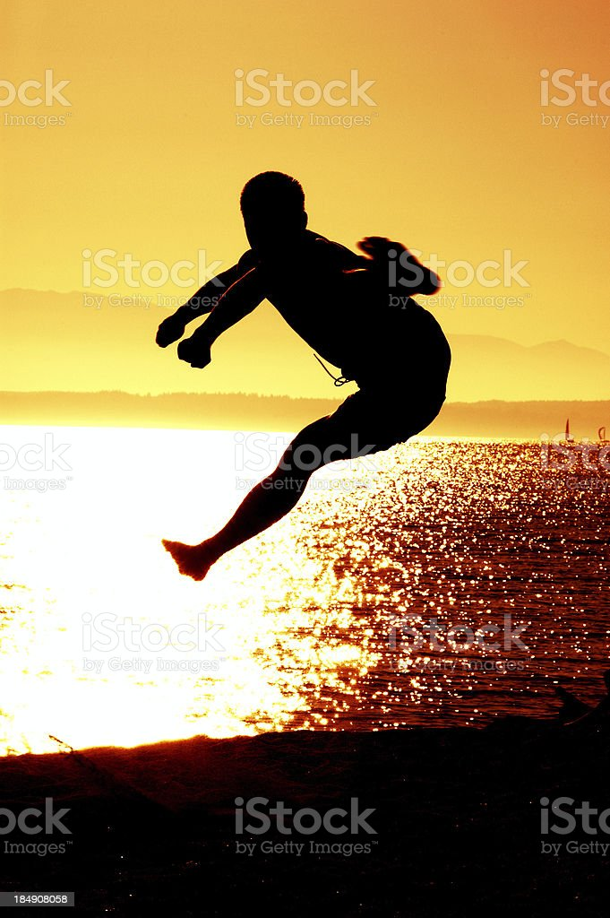 Flying Side Kick - Silhouette royalty-free stock photo