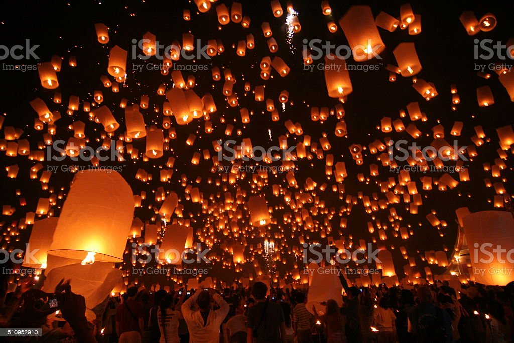Flying Sky Lantern on Yeepeng festival stock photo