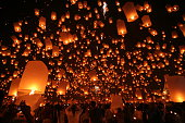 Flying Sky Lantern on Yeepeng festival