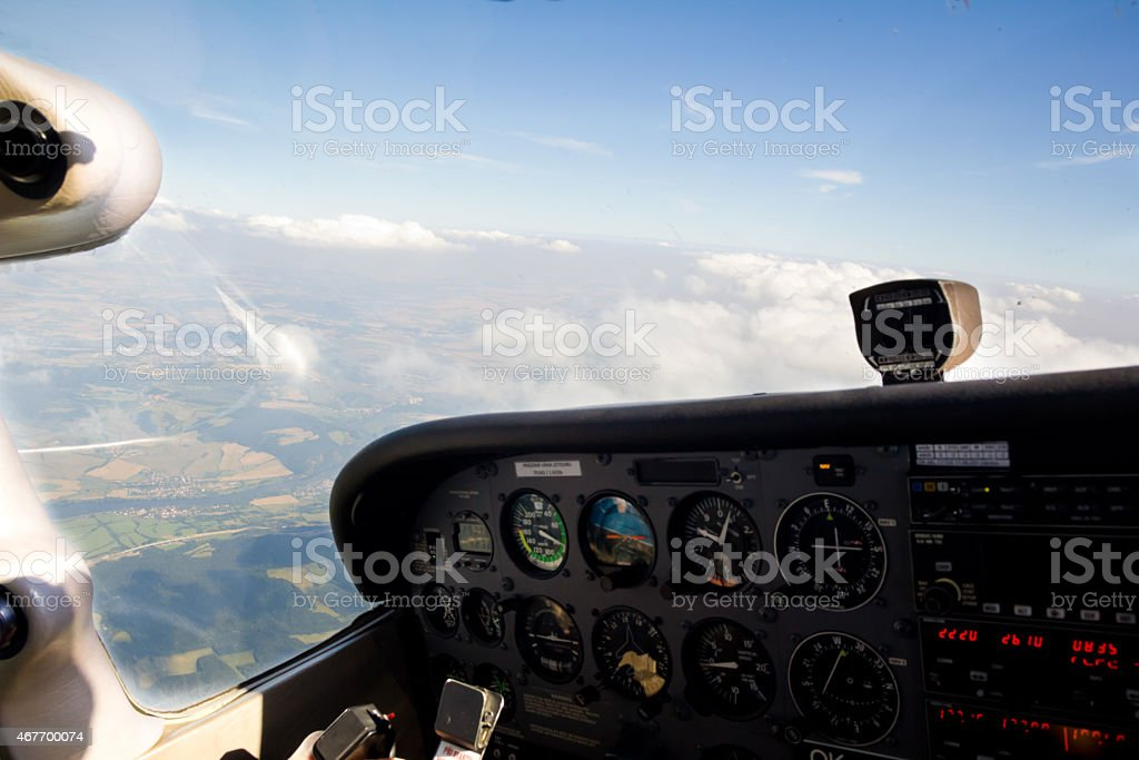 Flying Small Aircraft stock photo