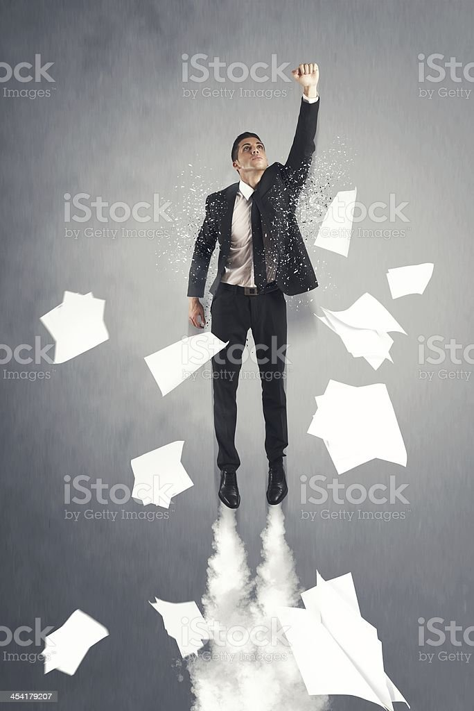 Flying Super hero businessman royalty-free stock photo