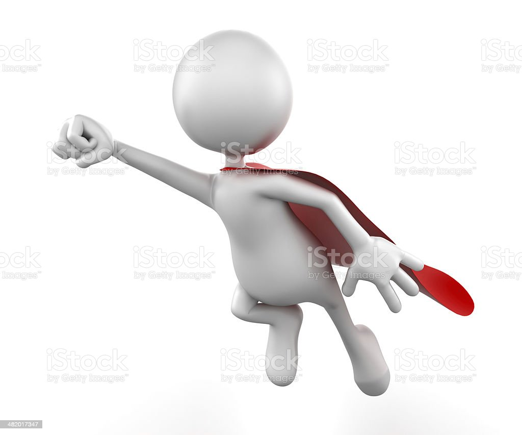 Flying superhero 3d Man, isolated w. clipping path royalty-free stock photo