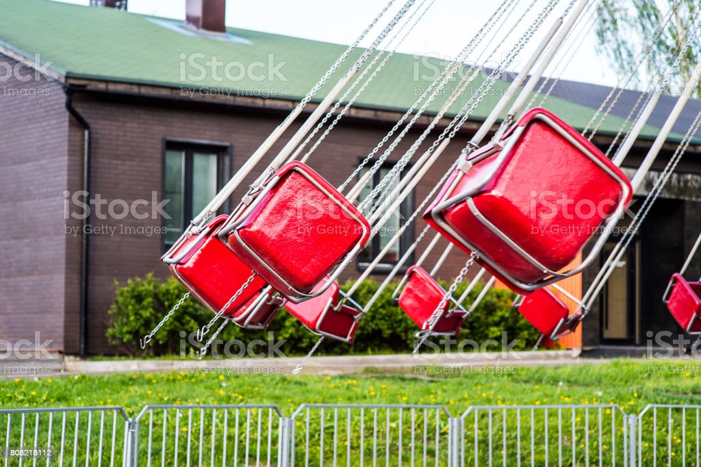 Flying Swing in Theme Park stock photo