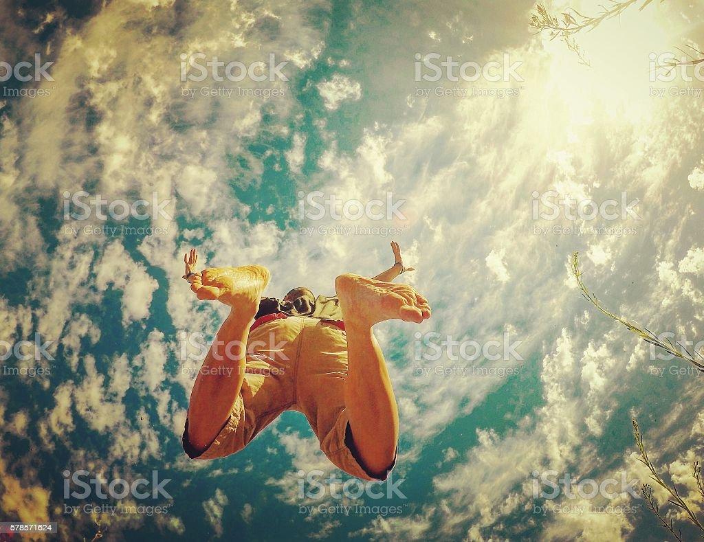Flying through the skies stock photo