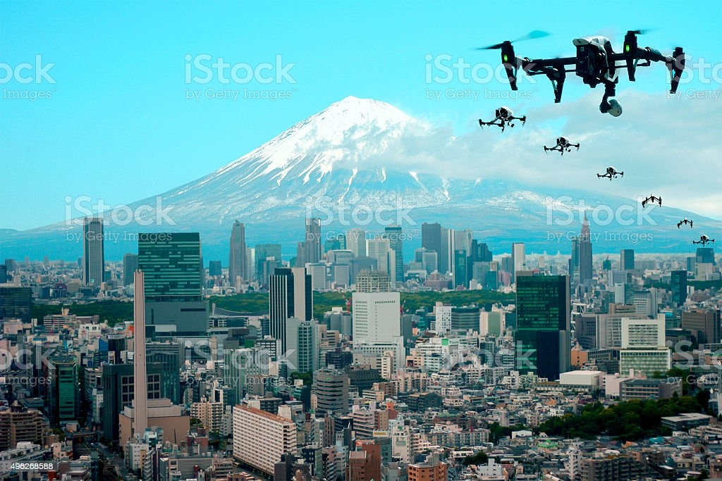 Flying through the town of drones Tokyo Japan, Fuji Mountain(image) stock photo