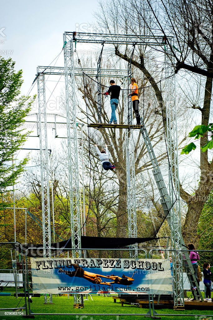 Flying Trapeze school stock photo