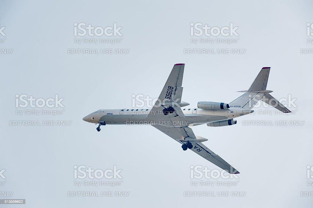 Flying Tu-134 of Utair company stock photo